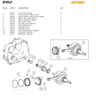 Kolv & vevaxel delar Daytona ANIMA®150/190 (4 VALVES)